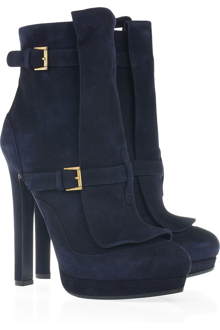 Alexander McQueen navy blue suede boots  http://www.pinterest.com/adisavoiaditrev/boards/