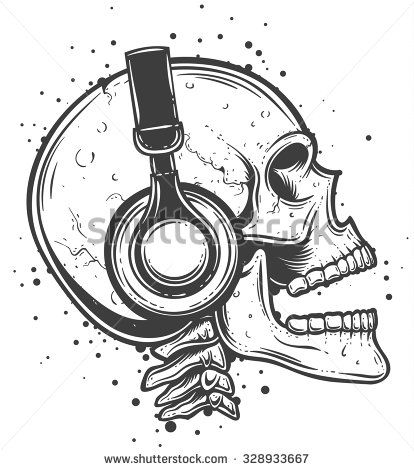 Vector illustration of a skull listening to the music. Skeleton wearing headphones side view. - stock vector
