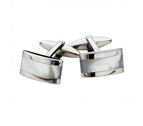 These Spartan stainless steel mother of pearl rectangular cufflinks feature a mother of rectangle in the middle of the design surrounded by a smooth polished finish.