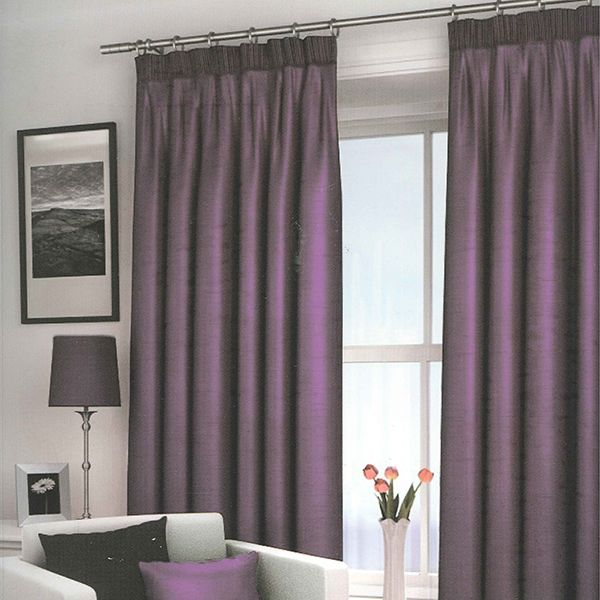 Harrow Purple Blackout Lined Pencil Pleat Curtains