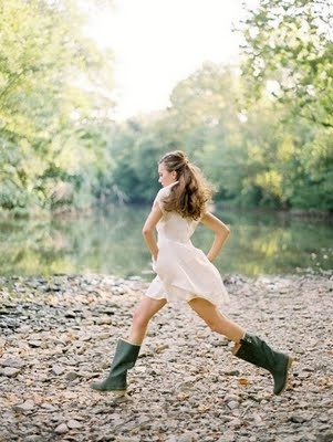 It's so much fun wearing mud boots and a flowy dress!