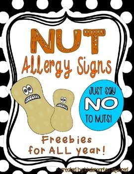 FREE monthly themed NUT ALLERGY signs to post in your class!