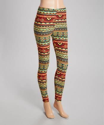 CHALMON'S RED & YELLOW TRIBAL LADIES LEGGINGS WOMENS BY SILVER ONE SIZE NEW! #Silver #Leggings