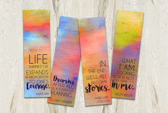 Printable Bookmarks Set, Inspirational Feminist Quote by PlayfulPixieStudio  #bookmarkset #inspirationalquote #printables