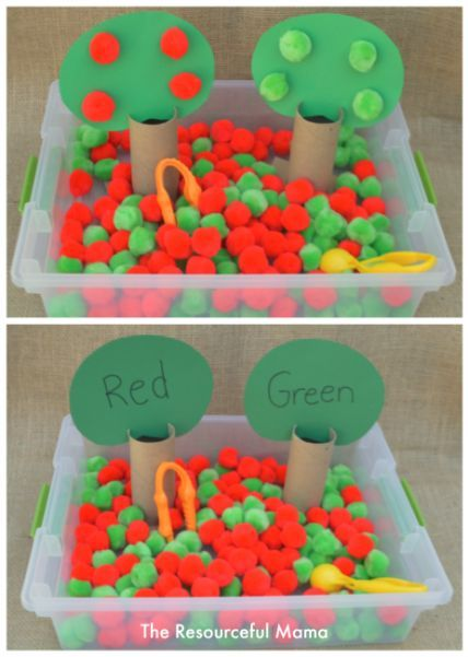 Apple sensory bin great for fine motor and color matching practice.