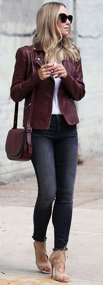#fall #street #trends | Burgundy + Black and White