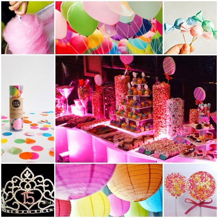 Decoracion Quincea?ero Neon ~ rainbow quinceanera dresses  Colorful Candyland Sweet Fifteen Theme