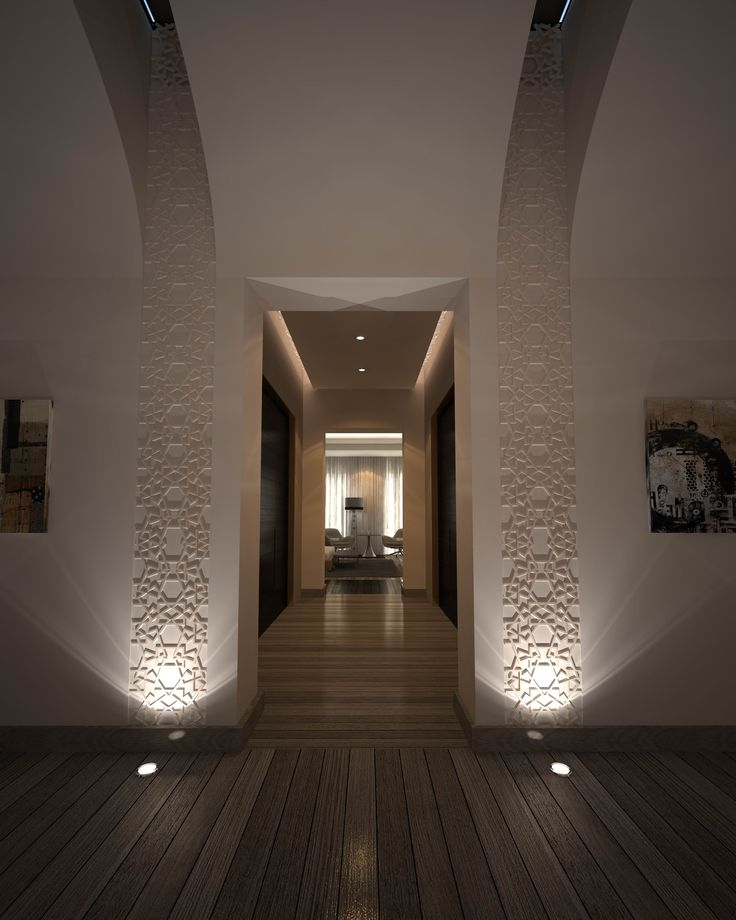 Brilliantly placed floor lighting picks up the architectural detail