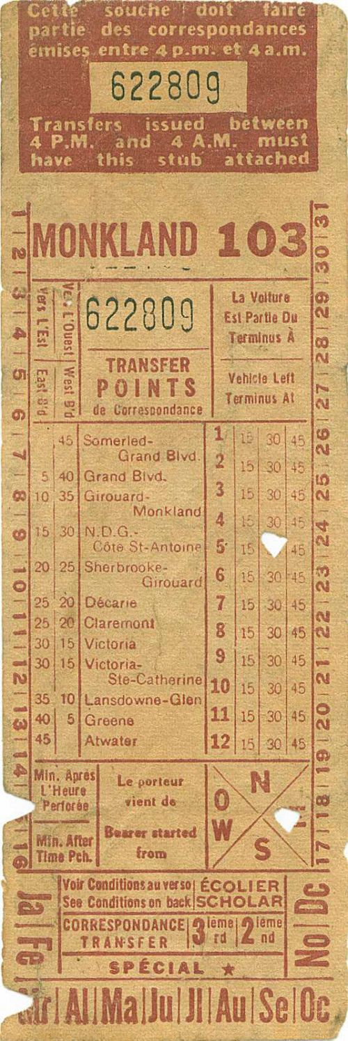 Front of transfer from Montreal (Quebec, Canada) Transportation Commission (early 1950s)