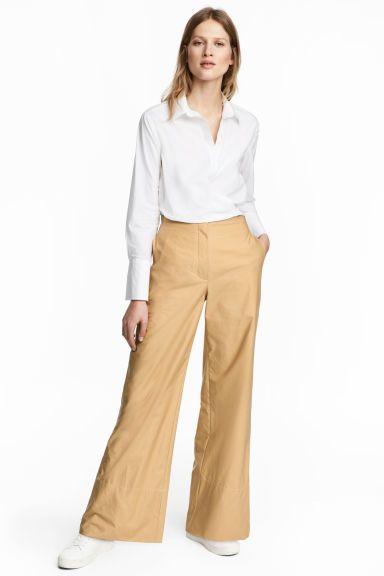 Wijde katoenen broek - Beige - | H&M NL 1