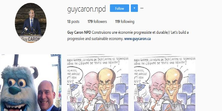 Guy Caron has a virtually non-existent presence on Instagram. This social media platform should be used as often as possible because it enables you to simultaneously post to Instagram and Facebook and enables candidates to provide images and slogans aimed at evoking specific emotions among their target audience. This is a significant oversight on his part.