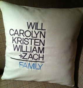 Family Math pillow by Wicked Stitches.  Great wedding gift for a blended family.