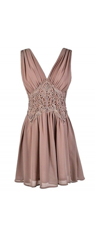Bold Embroidered Waistband Chiffon Dress in Mink Blush  www.lilyboutique.com
