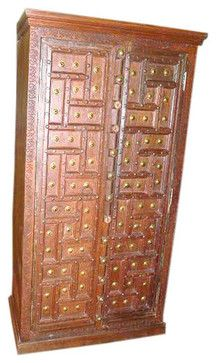 Solid Wood Century Furniture Armoire Cabinet Teak Armoire Colonial India asian-armoires-and-wardrobes