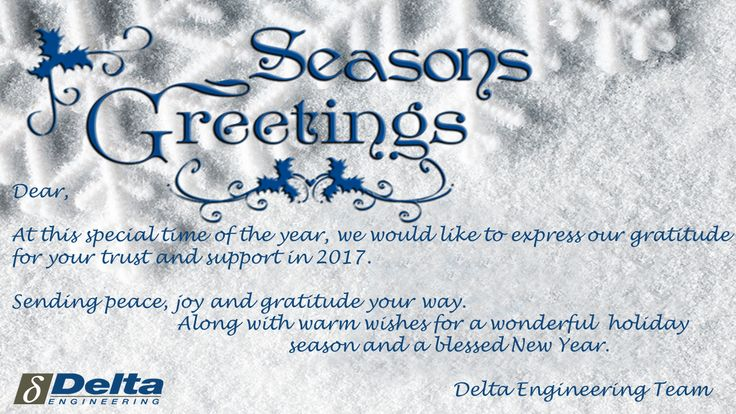 BEST WISHES FROM DELTA ENGINEERING