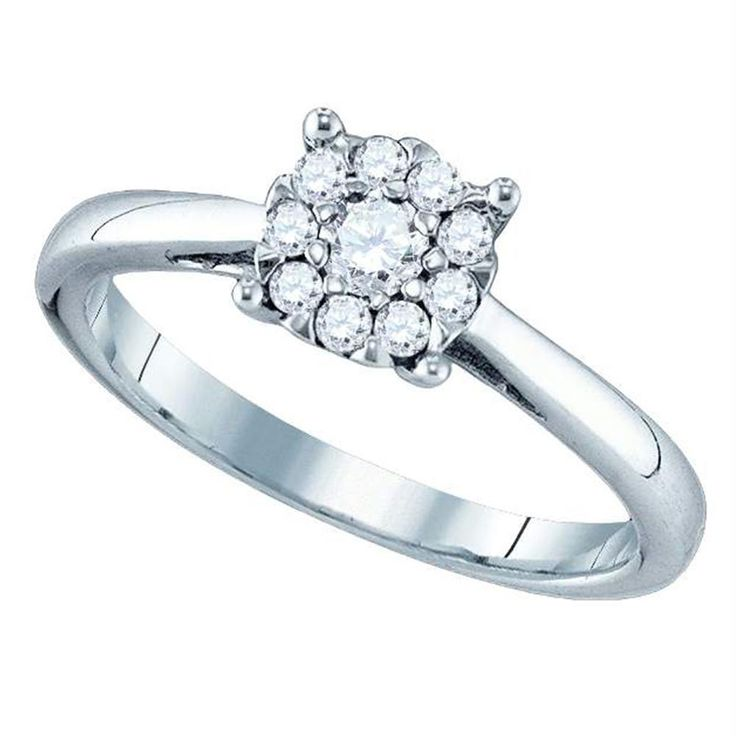 18kt White Gold Women's Round Diamond Cluster Bridal Wedding Engagement Ring 1/2 Cttw - FREE Shipping (US/CAN)