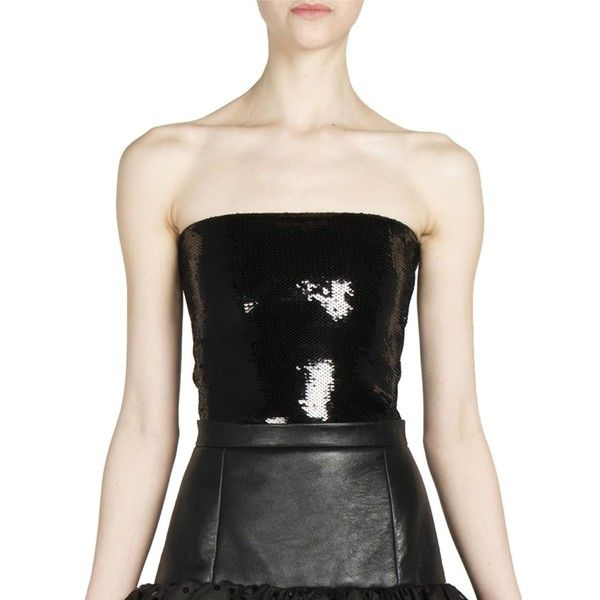 Saint Laurent Sequin Bandeau Top ($1,765) ❤ liked on Polyvore featuring tops, apparel & accessories, nero, yves saint laurent, sequin bandeau top, strapless tops, sequin top and sweater pullover