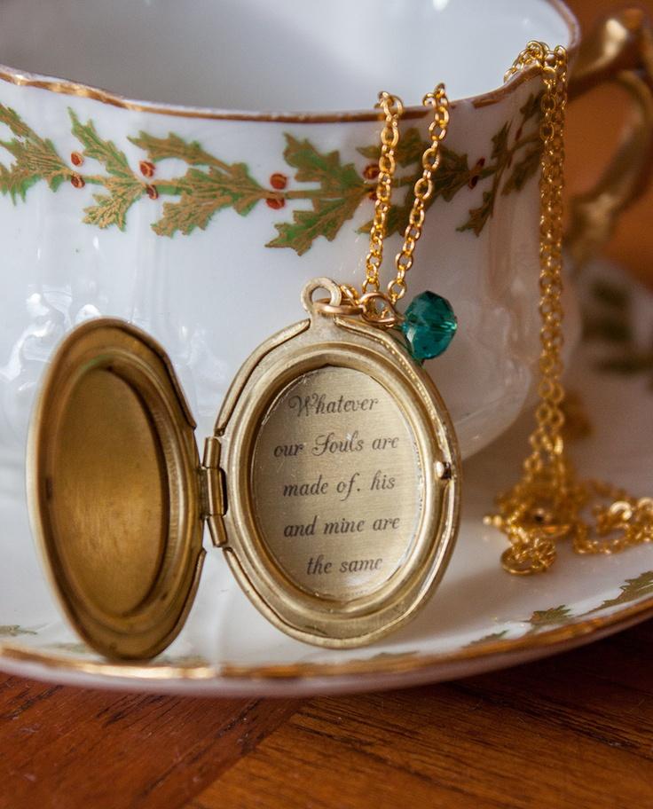 Romantic Quote locket: Emily Bronte, Lovers Souls. £10.50, via Etsy.