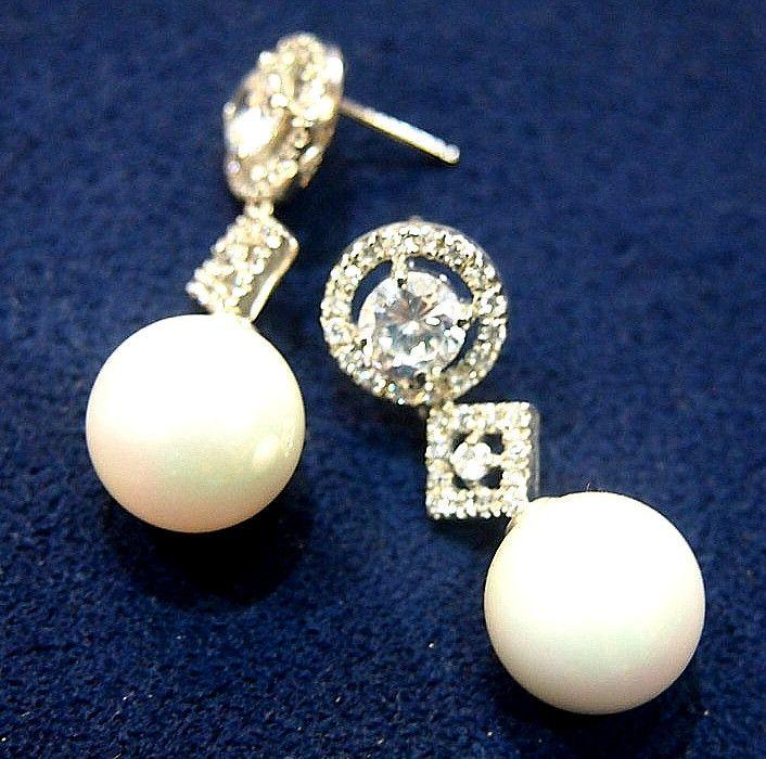 Jewellery-Earrings-Designer-Platinum, Pearl and Cubic Zirconia