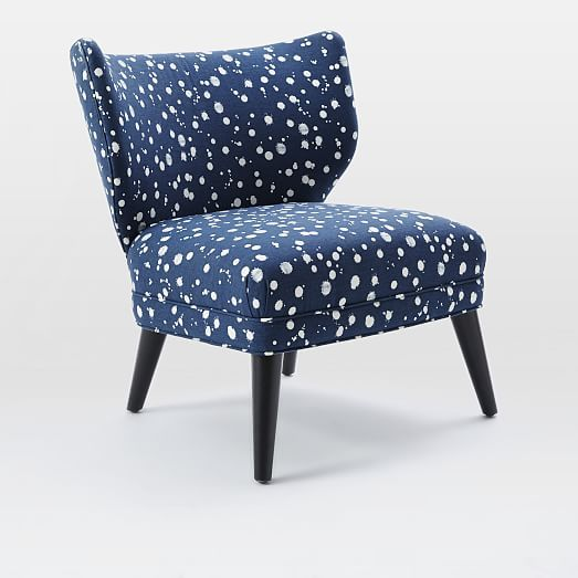 Retro Wing Chair - Kate Spade Saturday Splatter Print | West Elm Devin - Don't get mad at me. Small scale alternative to a club chair for the living room fireplace nook.