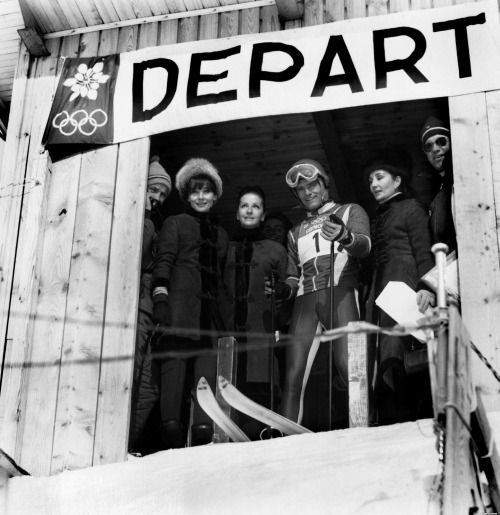 Audrey at the winter Olympic Games in Chamrousse in 1968 (she is the second from the left).