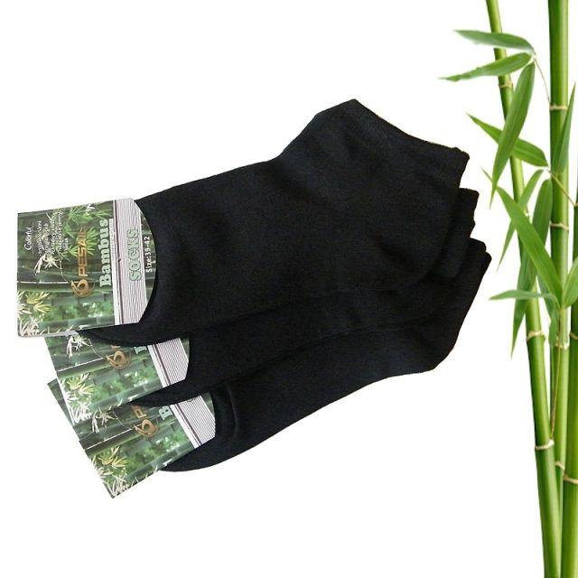 Bambusové ponožky dámské kotníkové, černé 39-42, 3 páry | EKO-plasty.cz - ekologické produkty, drogerie, nádobí, domácnost
