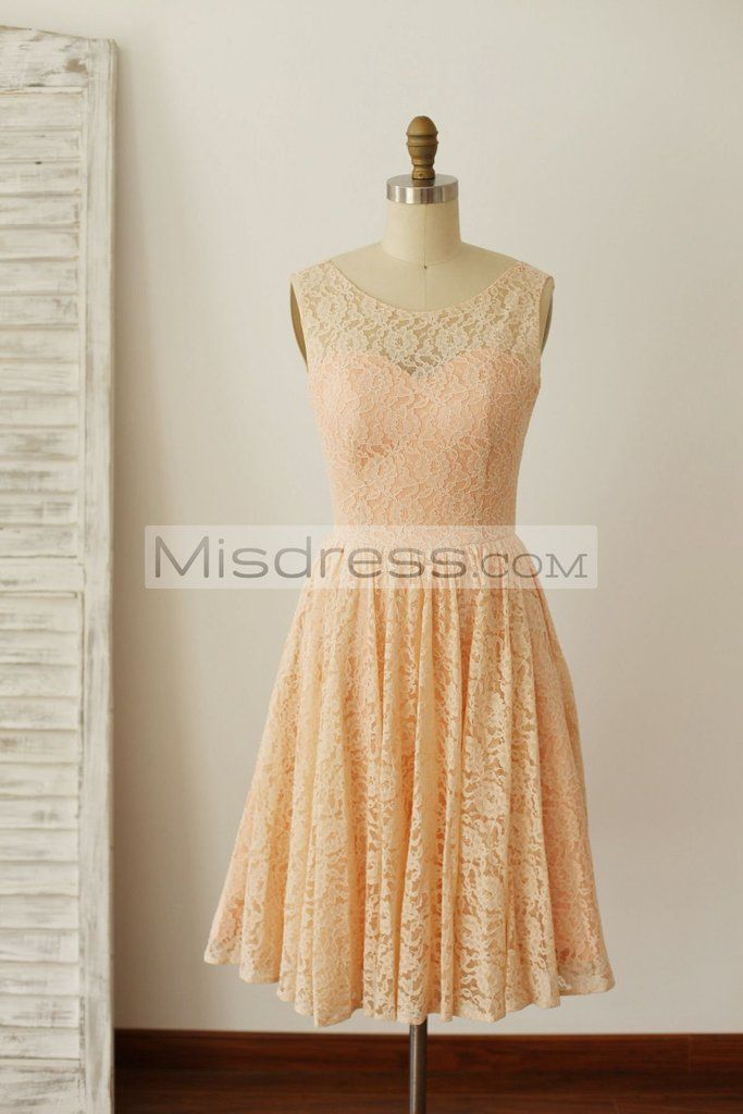 Peach Pink Lace Deep V Back Short Bridesmaid Dress with bow