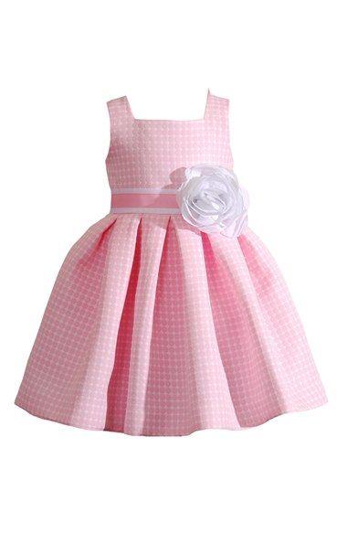 Kleinfeld Pink 'Amanda' Sleeveless Dot Jacquard Dress (Toddler Girls & Little Girls) available at #Nordstrom