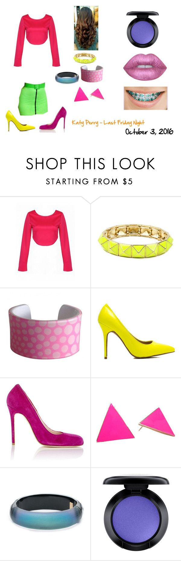 """""""Day 3 - October 3, 2016 - Katy Perry - Last Friday Night  (Halloween Costume Ideas)"""" by smmashley ❤ liked on Polyvore featuring Amrita Singh, Sonia Rykiel, Barneys New York, Alexis Bittar, MAC Cosmetics and Lime Crime"""