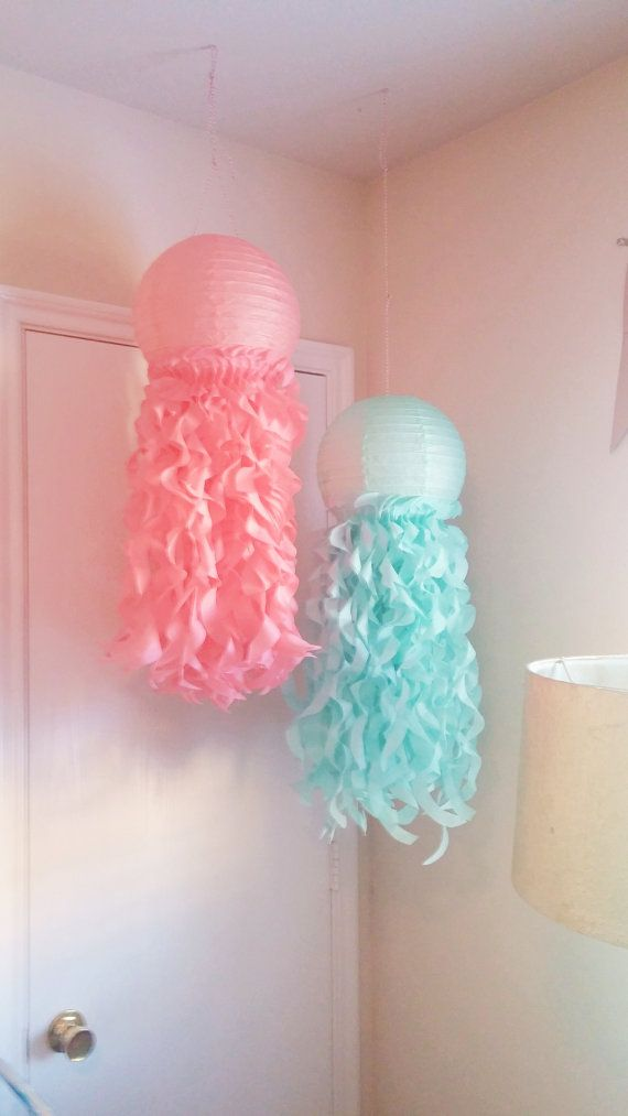 Set of 2 Jellyfish Paper Lanterns- Mermaid party- Under the Sea-Nursery Decor-Aqua and Coral-Room Decoration-Set of 2