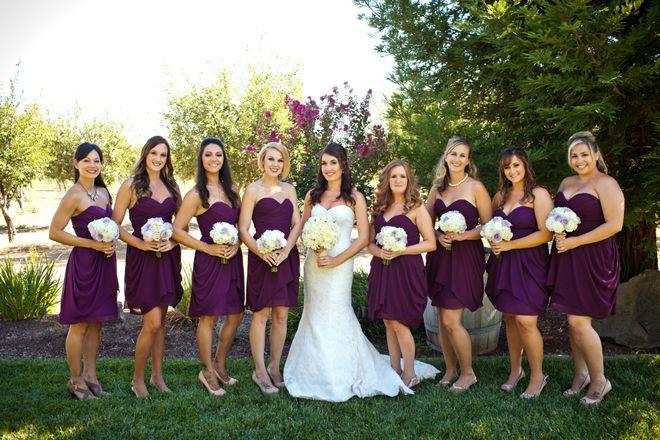 Plum ivory farm wedding plum bridesmaid magazines and for Purple and ivory wedding dresses