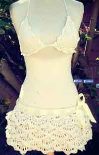 Over 75 Free Crocheted Beachwear Patterns | The White Russian Ruffle Skirt