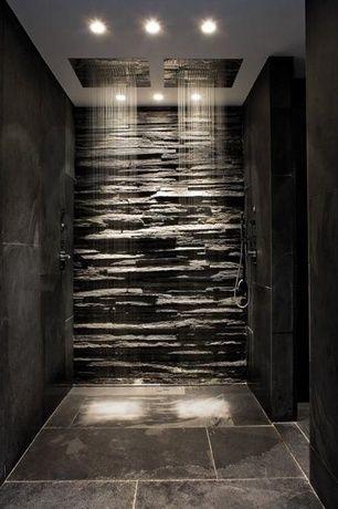 Master Bathroom with Alfi Brand Brushed Stainless Steel 1.85 GPM Rain Shower Head, Handheld showerhead, slate tile floors