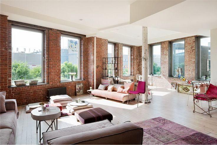 new york loft: Open Spaces, Brick Wall, Loft Style, Design Interiors, Living Room, New York Loft, Bohemian Style, New York Apartment, Wall Design