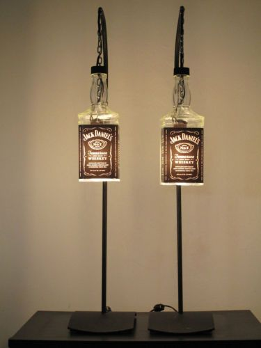 Jack Daniel's Whiskey Hanging Lamp Set with Stand Recycled Bottles...divorce.