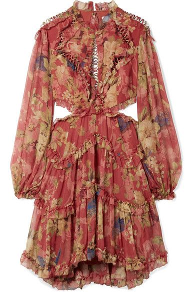 9f468482785 Love this by ZIMMERMANN Melody Cutout Floral-Print Silk-Crepon Mini Dress