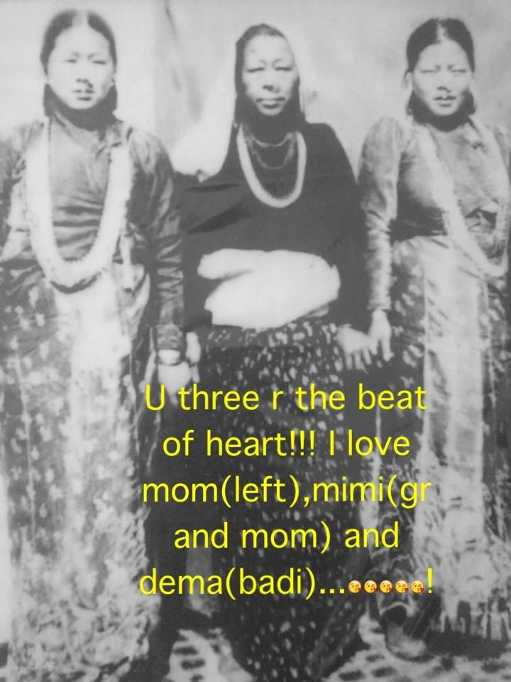 From my cousin Lenuka's album. Her mom (my aunt), grandma and aunt (my aunt too). Jalapa, Khotang.  #Nepal #traditional #Kirat #women #ornament #Rai