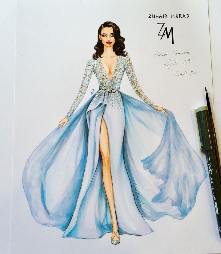 "802 Likes, 10 Comments - NataliaZ.Liu (@nataliazorinliu) on Instagram: ""#fashionillustration #zuhairmurad #handdrawn #sketch #luxury #designer #paris #art #glamour…"""