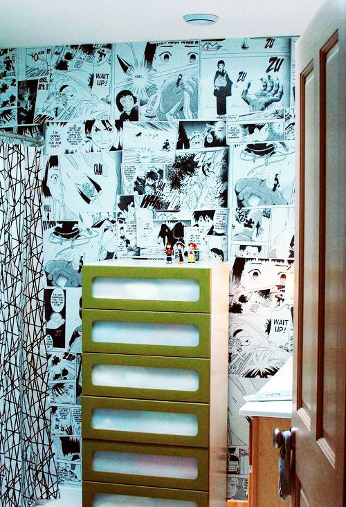 anime images pasted to the wall