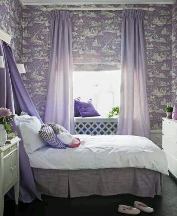 Kids Room: Purple Bedroom For A Girl With Purple Curtains Also Black  Flooring And White Cabinet Plus Comfy Bed Design Ideas: Amazing Girls Room  Design Ideas