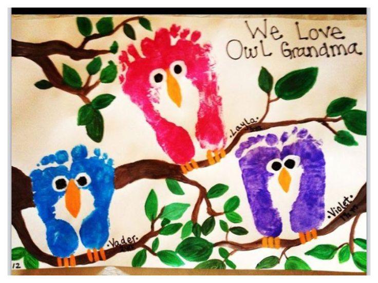 We love OWL grandma footprint art