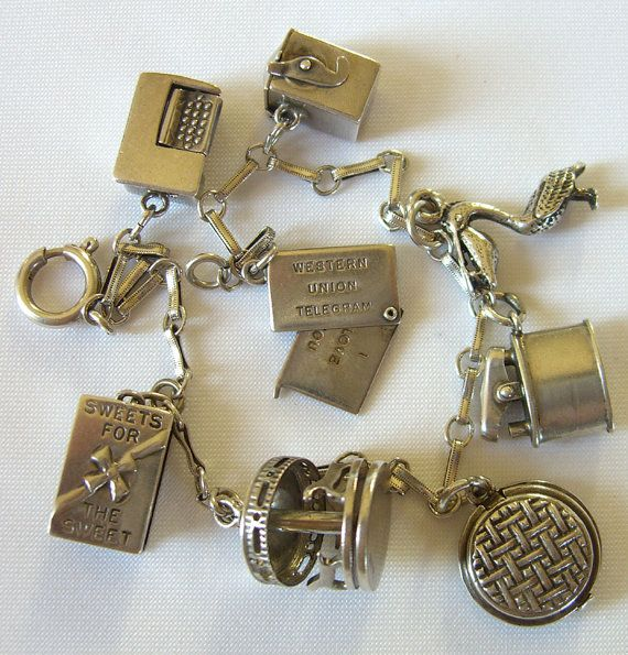Vintage Charm Bracelet 1940s Some Sterling Silver. Western Union, Candy Box.