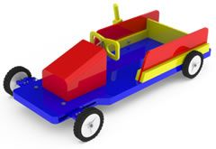 Wooden Push Go-Cart with a Steering Wheel