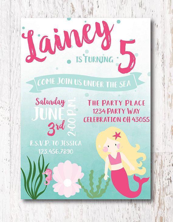 Mermaid Birthday Party Invite Etsy Etsyshop Etsyfinds Invitation Birthdayparty Birthdayinvitations Woodlawndesign Mermaidparty