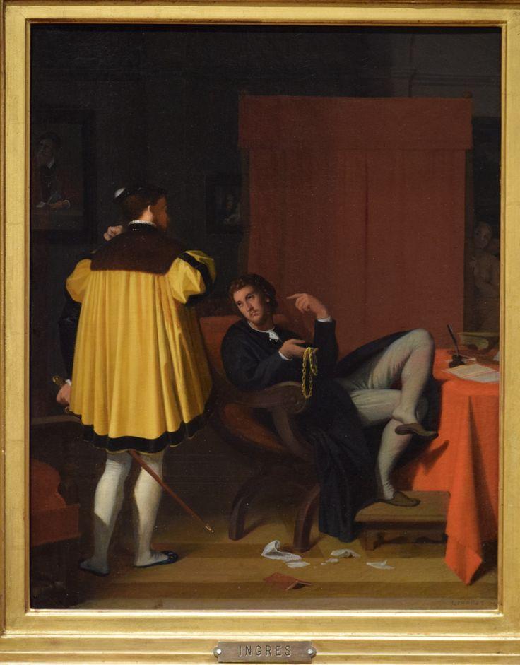 Jean Auguste Dominique Ingres, L'Arétin et l'envoyé de Charles Quint, Huile sur toile, 41,5 x 32,5 cm, 1848. Photographie Deuxième Temps, Musée des Beaux-Arts de Lyon