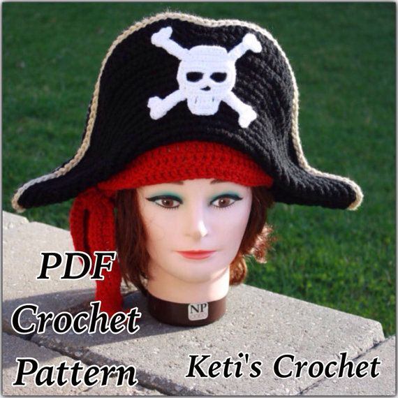 Crochet Pattern:Kids Pirate Hat,Pirate Hat,Teen Pirate Hat,Crochet Pirate Hat,Pirate Hat Pattern,Halloween Costume,Child Pirate Hat,Pirate