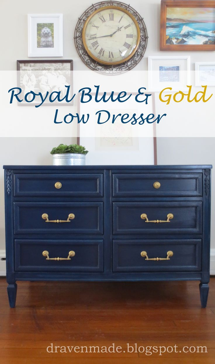 Draven Made: Royal Blue & Gold Dresser in General Finishes Coastal Blue Milk Paint