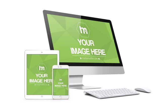A 3d Mockup For Displaying Your Images On A Big Computer Screen And A White Iphone And Ipad Standing In Front Of The Monitor A White Iphone Ipad Mockup Iphone
