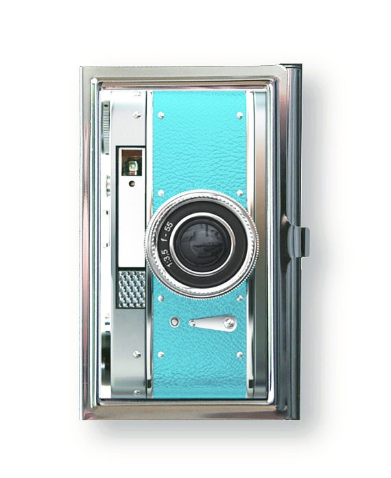 Business Card Case Vintage Style  Blue Camera by TheCuriousCaseLLC, $18.00