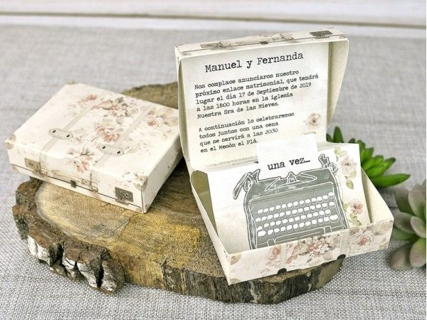 Invitatie de nunta cu valiza pentru masina de scris 39300